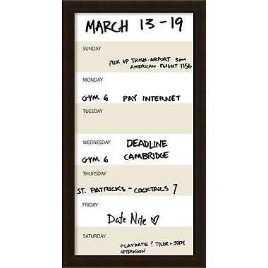 Amanti Art Coffee Vertical Dry-Erase Beige Week Calendar, 14