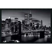 "Brooklyn Bridge - Black and White' Framed Art Print with Gel Coated Finish 37"" x 25"" (DSW1408601)"