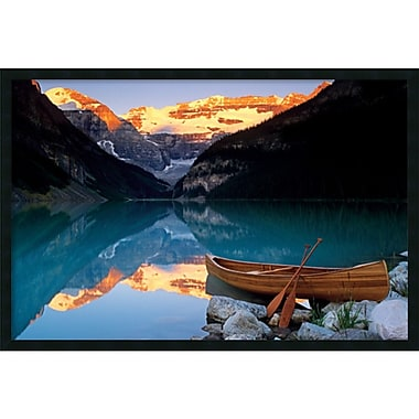 Amanti Art Canoe On Lake Louise Framed Art Print with Gel Coated Finish, 37