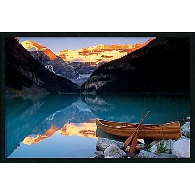 Canoe On Lake Louise' Framed Art Print with Gel Coated Finish 37