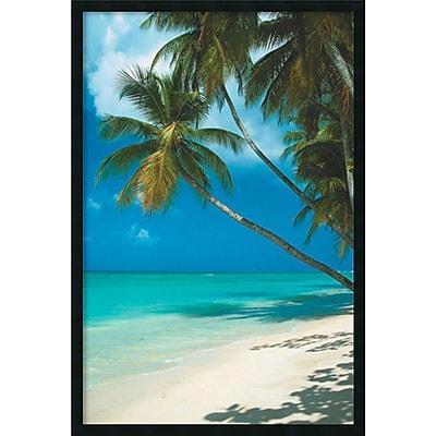 Tropical Beach (Palm Tree)' Framed Art Print with Gel Coated Finish 25