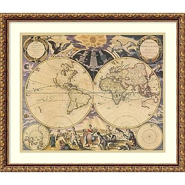 Amanti Art ? Impression encadrée « Carte du Nouveau Monde, 1676 » par Pieter Goos, 25 x 22 po (DSW1396599)