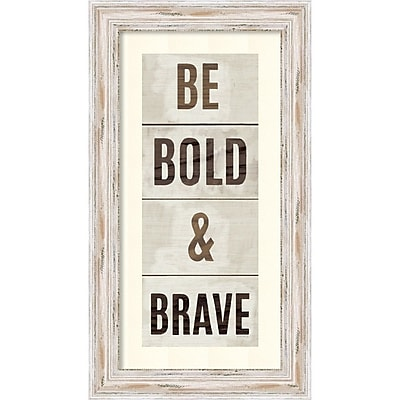 "Michael Mullan 'Wood Sign Bold and Brave on White Panel' Framed Art Print 13"" x 23"" (DSW1421372)"