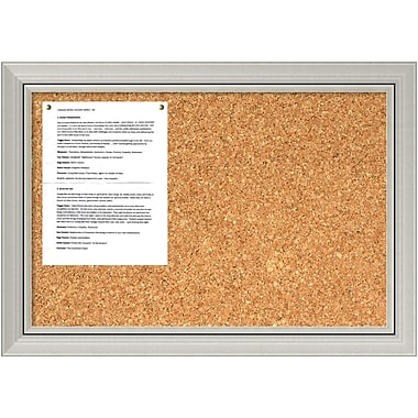 Amanti Art Romano Silver Cork Board Medium Message Board, 28 x 20