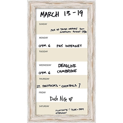 Alexandria Whitewash Vertical Dry-Erase Beige Week Calendar Framed 15
