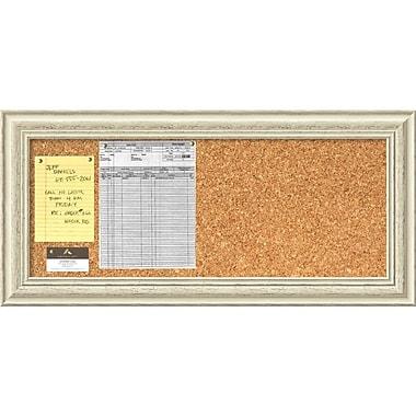 Amanti Art Country Whitewash Cork Board Panel Message Board, 34 x 16