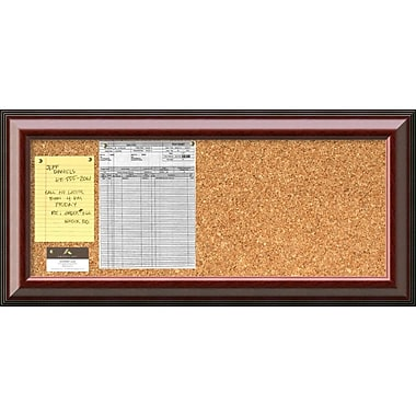 Amanti Art Cambridge Mahogany Cork Board Panel Message Board, 34 x 16