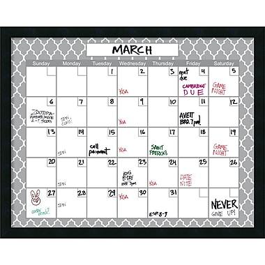 Amanti Art Mezzanotte White Quatrefoil Dry-Erase Calendar, 30