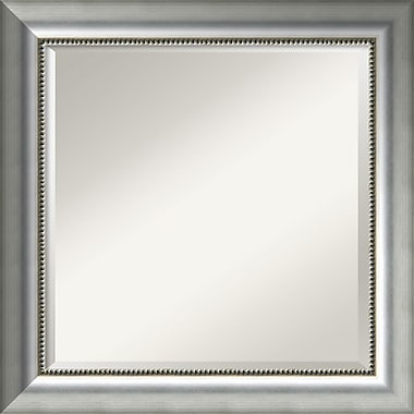 Amanti Art Vegas Burnished Silver Wall Mirror, Square, 25