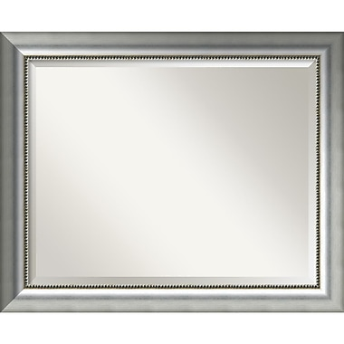 Amanti Art Vegas Burnished Silver Wall Mirror, Large, 33