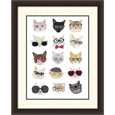 Amanti Art Hanna Melin Cats with Glasses Framed Art Print, 30