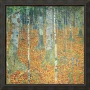 Amanti Art Gustav Klimt 'Birkenwald (Birch Forest)' Art Print 36 x 36 in. Dark Bronze Wood Frame (DSW1396596)