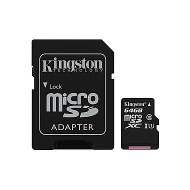 Kingston - Carte MicroSD avec adaptateur SD classe 10, 64 Go