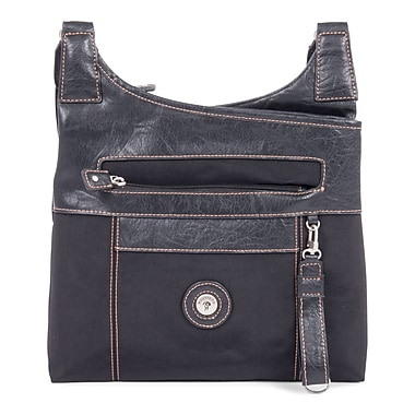 Mouflon Leather Crossbody, Black/Black