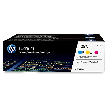 HP 128A (CF371AM) Cyan, Magenta & Yellow Original LaserJet Toner Cartridges, 3/Pack