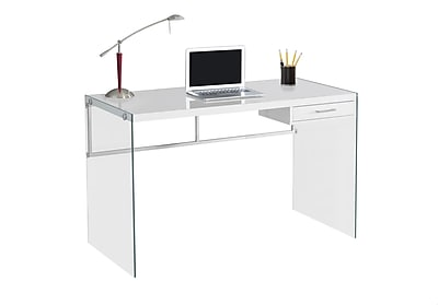 Monarch Specialties Computer Desk 48L Glossy White and Tempered