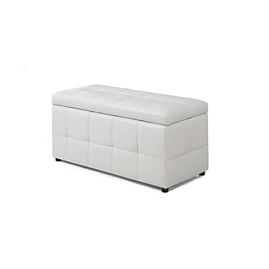Monarch Specialties White Leather-Look Ottoman ( I 8985 )