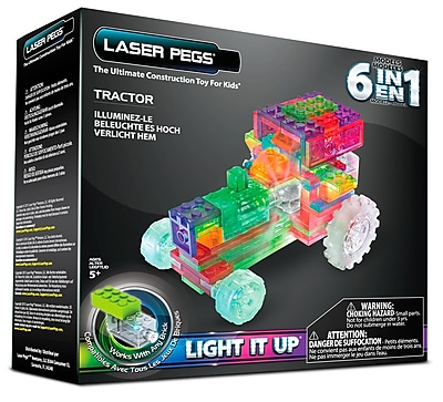Laser Pegs® Lighted Power Blocks Tractor, Multicolor (ZD120B)