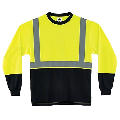 Ergodyne GloWear 8291BK Class 2 Long Sleeve Shirt, Lime, S (22712)