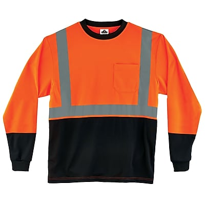 Ergodyne GloWear 8291BK Class 2 Long Sleeve Shirt, Orange, 3XL (22717)
