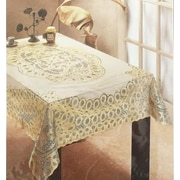 "Nusso Nappe Crochet Tablecloth, 52"" x 70"", Gold Design"
