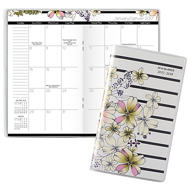 AT-A-GLANCE® - Agenda mensuel de poche Monique, 2 ans, bilingue