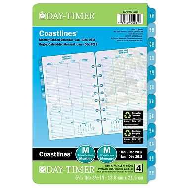 Day-Timer® 2017 Coastlines Themed Desk Planner Refills, 5-1/2