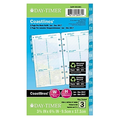 Day-Timer® 2017 Coastlines Themed Refills, 2 Page Per Week