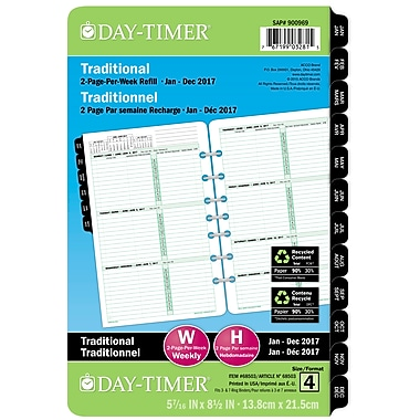 Day-Timer® 2017 Dated Desk Planner Refills, 5-1/2