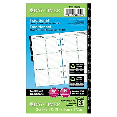 Day-Timer® 2017 12-Months Dated Refills, 2 Page Per Week