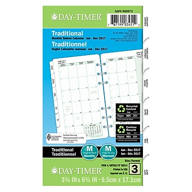 Day-Timer® 2017 Dated Refill, Portable, 2 Page Per Month