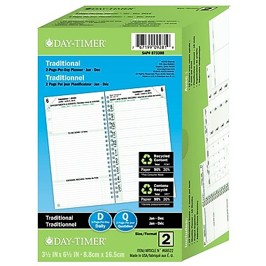 Day-Timer® 2017 12-Months Dated Refills, 2-Page Per Day