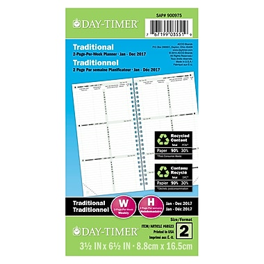 Day-Timer® 2017 Dated Refills, 2 Page Per Week