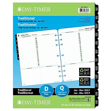 Day-Timer® 2017 Dated Refills, Folio, 1-Page Per Day, 8-1/2