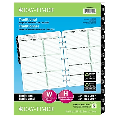 Day-Timer® 2017 Dated Refills, 2-Page Per Week