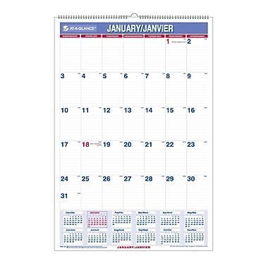 AT-A-GLANCE® – Calendrier mural mensuel 2018 recyclé, 15 1/2 po x 22 3/4 po, bilingue