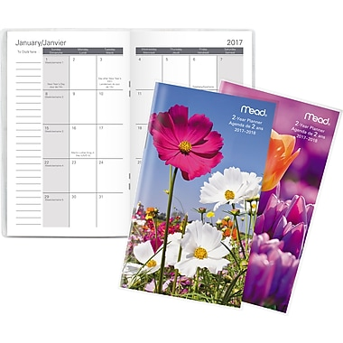 Mead® 2017-2018 Two-Year Pocket Monthly Planner, Floral Design, Bilingual