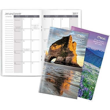 Mead® 2017-2018 Two-Year Pocket Monthly Planner, Scenic Design, Bilingual