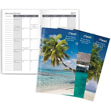 Mead® 2017-2018 Two-Year Pocket Monthly Planner, Tropical Design , Bilingual