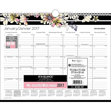 AT-A-GLANCE® – Calendrier mural de mode, Monique, 15 po x 12 po, bilingue