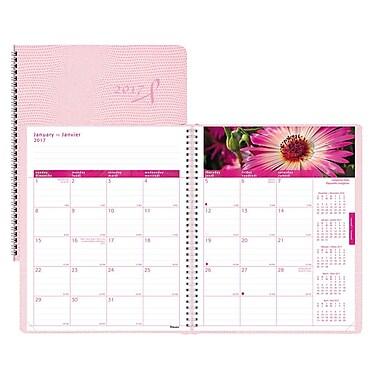 Blueline® – Agenda mensuel 2017, 8 7/8 po x 7 1/8 po, ruban rose, rose, bilingue