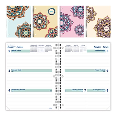 Blueline® – Agenda hebdomadaire/mensuel 2017, 10 1/4 po x 7 5/8 po, motifs Mandala variés, bilingue