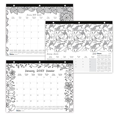 Blueline® 2017 Monthly Desk Pad Calendar, 12-Month, 11