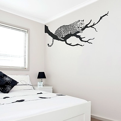 Wallums Wall Decor Jaguar On Branch Wall Decal; Silver Metallic