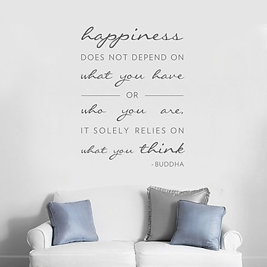 Wallums Wall Decor Happiness Does Not Depend On Wall Decal; Warm Gray