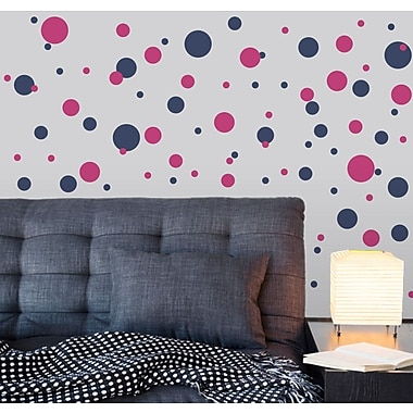 Wallums Wall Decor Polka Dots Wall Decal; White / Pink