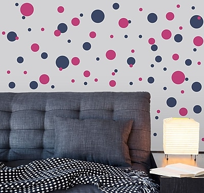 Wallums Wall Decor Polka Dots Wall Decal; Storm Gray / Chocolate Brown