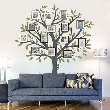 Wallums Wall Decor Large Family Tree Wall Decal; Storm Gray / Dark Gray