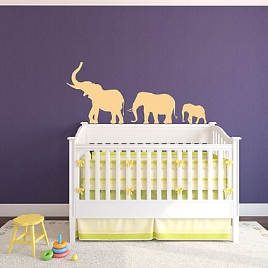 Wallums Wall Decor Marching Elephants Wall Decal; Silver Metallic