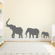 Wallums Wall Decor Marching Elephants Wall Decal; Storm Gray